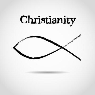 Plakat chrześcijański symbol ryby. logo