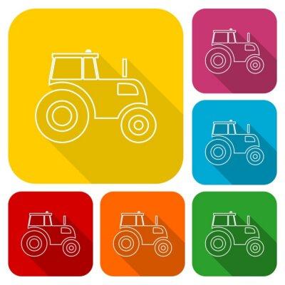 Plakat Ciągniki ikony ustaw z długim cieniem