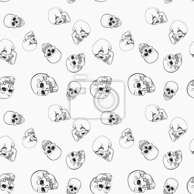 Plakat Ciemne czaszki na białym tle wektoru wzorze
