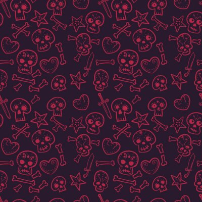 , Ciemnoczerwony bezszwowe tło, ilustracja wzór z czaszki i serca, kości i sztylety wektor