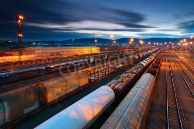 Plakat Ciężarowy transport z pociągów i kolei