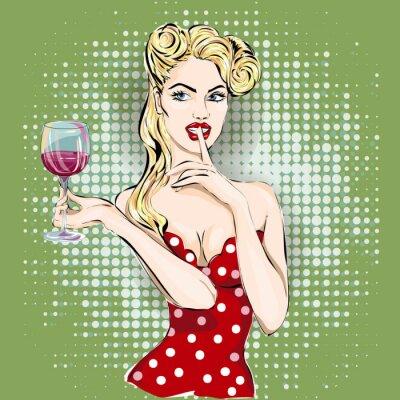 Plakat Ciii pop art twarz kobiety z palcem na ustach i kieliszkiem wina