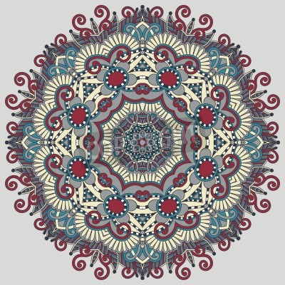 Plakat Circle lace ornament, round ornamental geometric doily pattern