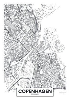 Plakat City map Copenhagen, travel vector poster design