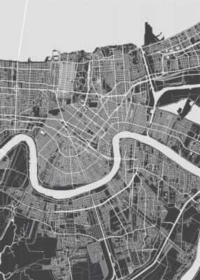 Plakat City map New Orleans, monochrome detailed plan, vector illustration