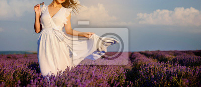 Plakat close up photo of a woman in white dress in lavender field