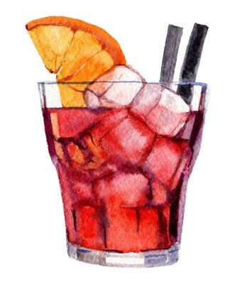 Plakat Cocktail with ice and orange isolated on white background, watercolor illustration