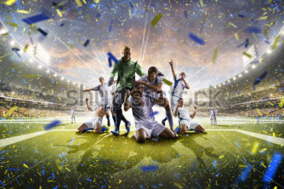 Plakat Collage adult soccer players in action on stadium panorama
