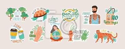 Plakat Collection of ecology stickers with slogans - zero waste, recycle, eco friendly tools, environment protection. Bundle of decorative design elements. Flat cartoon colorful vector illustration.