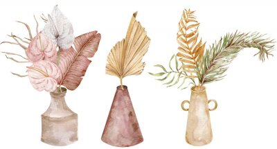 Plakat Collection of tropical bouquests in ceramic vases. Watercolor set of exotic compositions. Boho wedding.