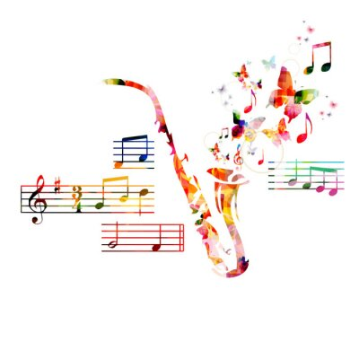 Plakat Colorful saxophone design with butterflies