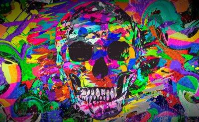 Plakat colorful skull on white background, modern graphic illustration