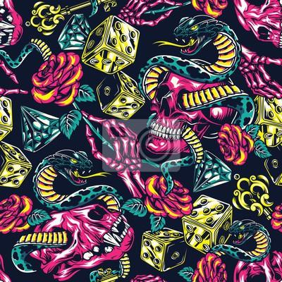 Plakat Colorful tattoos seamless pattern
