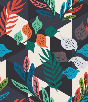 Plakat Colorful tropical leaf, fern, and geometric hexagon diamond triangle seamless pattern. Trendy repeat geo vector swatch.
