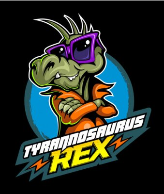 Plakat Comic book, cartoon style tyrannosaurus in the leather jacket and with the sunglasses, vector image
