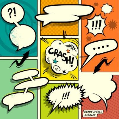 Plakat Comic Book Speech Bubbles. Zestaw kolorowych elementów komicznych i książki retro projektowania z dymki! Ilustracji wektorowych.