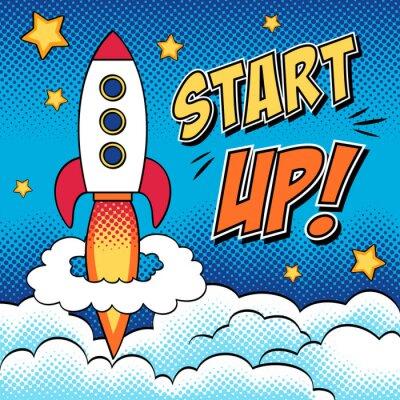 Plakat Comic ilustracji rozruchu koncepcji z rakietą w sztuce pop