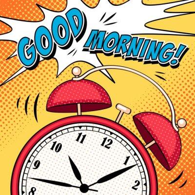Plakat Comic ilustracji z budzikiem w stylu pop