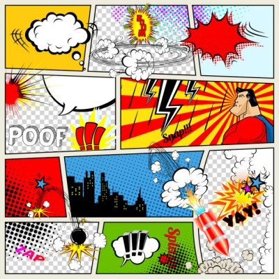 Plakat Comics Template. Vector Retro Comic Book Speech Bubbles
