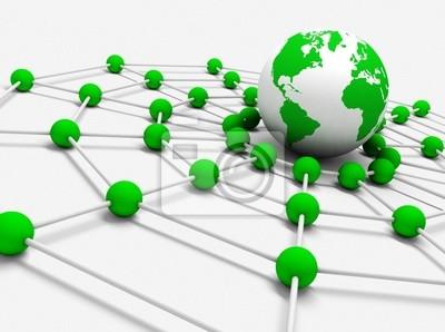 concepto de trabajo en red con bola del mundo