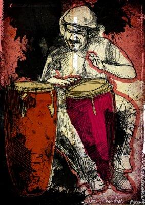 Plakat conga gracz - ręcznie rysowane ilustracji
