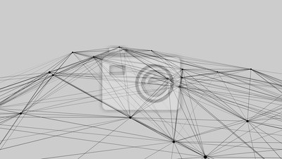 Connection of dots and lines on a white background. Abstract vector illustration.