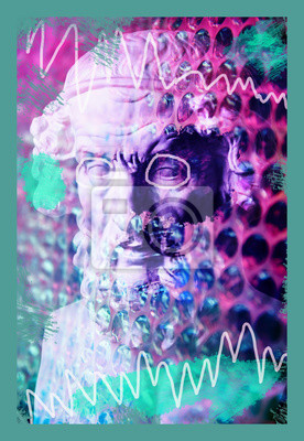 Plakat Contemporary art concept collage with antique statue head in a surreal style. Modern unusual art.