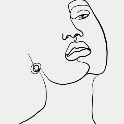 Plakat Continuous line, drawing of beauty woman face with earring , fashion concept, woman beauty minimalist, vector illustration for t-shirt slogan design print graphics style. One line fashion illustration
