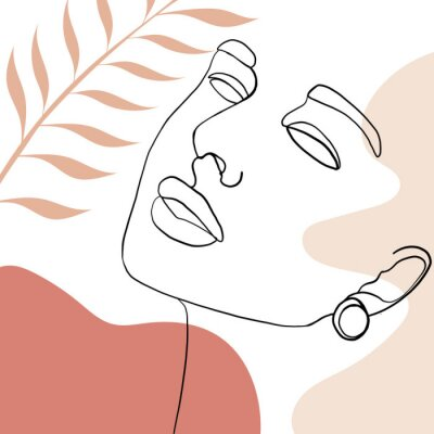 Plakat Continuous line, drawing of woman face, fashion concept, woman beauty minimalist with geometric doodle Abstract floral elements pastel colors. One line continuous drawing. vector illustration