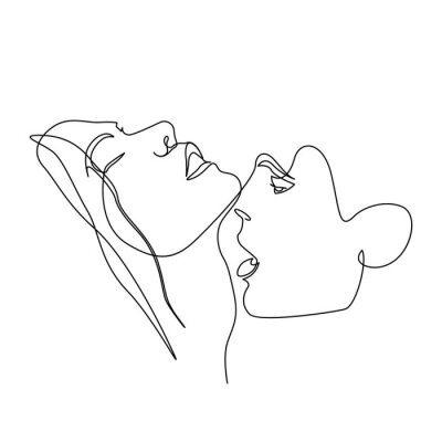 Plakat Continuous one line beautiful woman and man kisses passionately