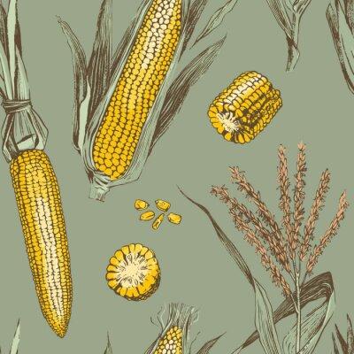 Plakat Corn on the cob vintage design seamless pattern
