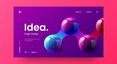 Plakat Creative horizontal website screen part for responsive web design project development. 3D colorful balls geometric banner layout mock up. Corporate landing page block vector illustration template.