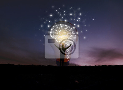 Plakat creative idea.Concept of idea and innovation / night sky background / soft focus picture / Blue tone concept