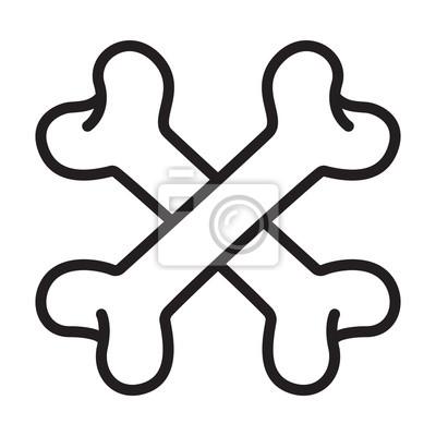 crossbones Skull pirate dog logo icon vector Halloween doodle ilustracji