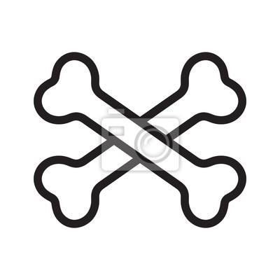 crossbones wektor ikona logo pirat kości Halloween cartoon ilustracja symbol