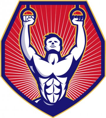 Plakat Crossfit Szkolenia Sportowiec Rings Retro
