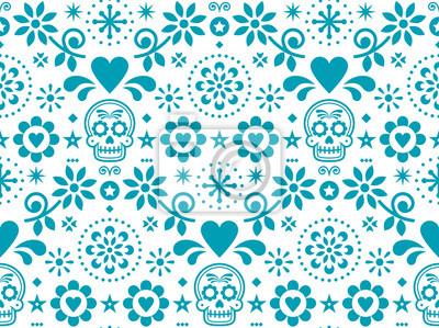 Plakat Cukrowa czaszka wektorowy bezszwowy wzór inspirowany meksykańską sztuką ludową, Dia de Los Muertos powtarzalny projekt w turkusie na białym tle