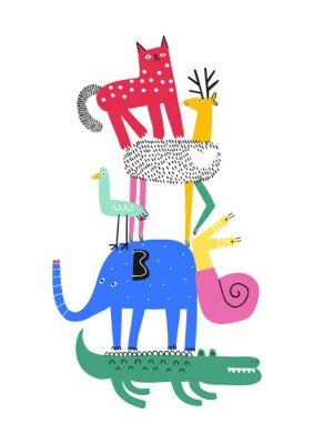 Plakat Cute animals. T-shirt graphics for kids vector illustration. Fun cartoon animals pyramid greeting card.