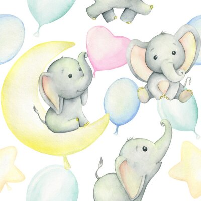 Plakat Cute baby elephants surrounded by balloons, watercolor drawing, on white background. Seamless pattern. For children's holiday, digital paper, and invitations.