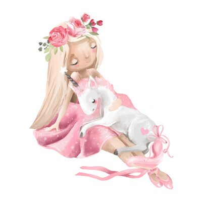 Plakat Cute ballerina, ballet girl with flowers, floral wreath and baby unicorn