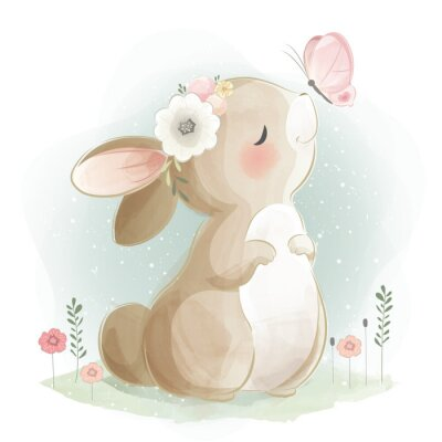 Plakat Cute Bunny and the Butterfly