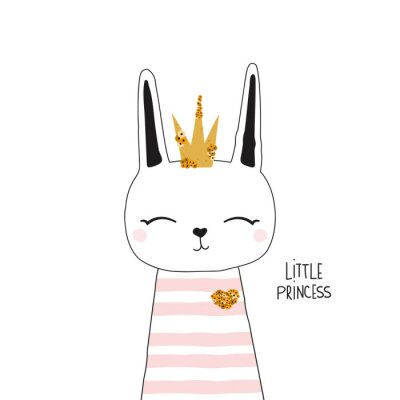 Plakat Cute bunny princess with gold crown. Kids trendy graphic. Vector hand drawn illustration.