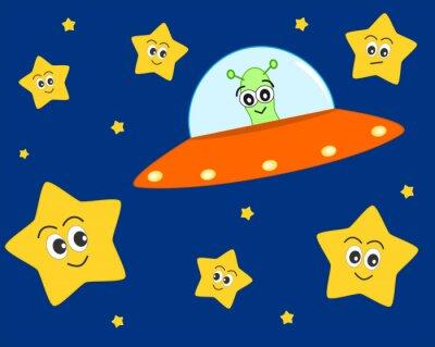 Plakat Cute cartoon cudzoziemca ufo w przestrzeni z słodkim piękne stars wektorowych ilustracji dla dzieci