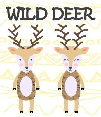 Plakat Cute cartoon deer. Composition with folk art animals and floral decor elements. Hand drawn clip art. Scandinavian style