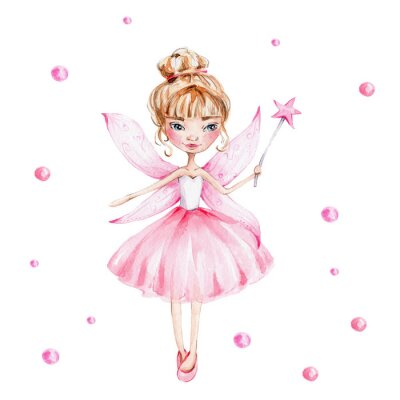 Plakat Cute cartoon fairy with magic wand and wings; watercolor hand draw illustration; with white isolated background