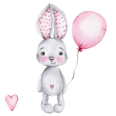 Plakat Cute cartoon little bunny with pink balloon; watercolor hand draw illustration; with white isolated background