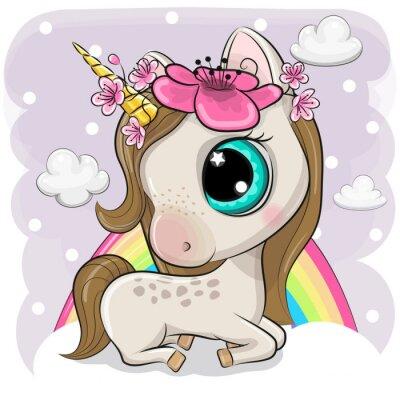 Plakat Cute Cartoon Unicorn on clouds