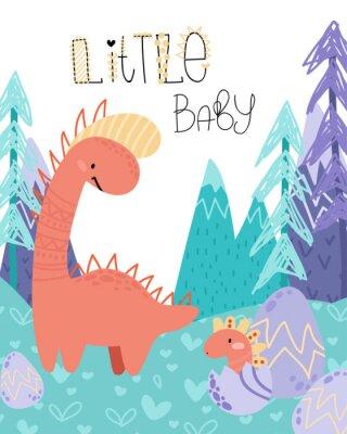 Plakat Cute childish hand drawing. Prehistoric period. Vector scandinavian illustration. Sketch of jurassic reptiles. Cartoon dinosaurs, eggs, mountains. Template baby banner, greeting card, invitation
