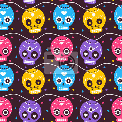 cute colorful mexican dia de los muertos holiday seamless vector pattern background illustration with skulls and confetti