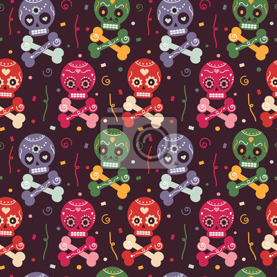 cute colorful mexican seamless vector pattern background illustration with skull, flowers, confetti and bones